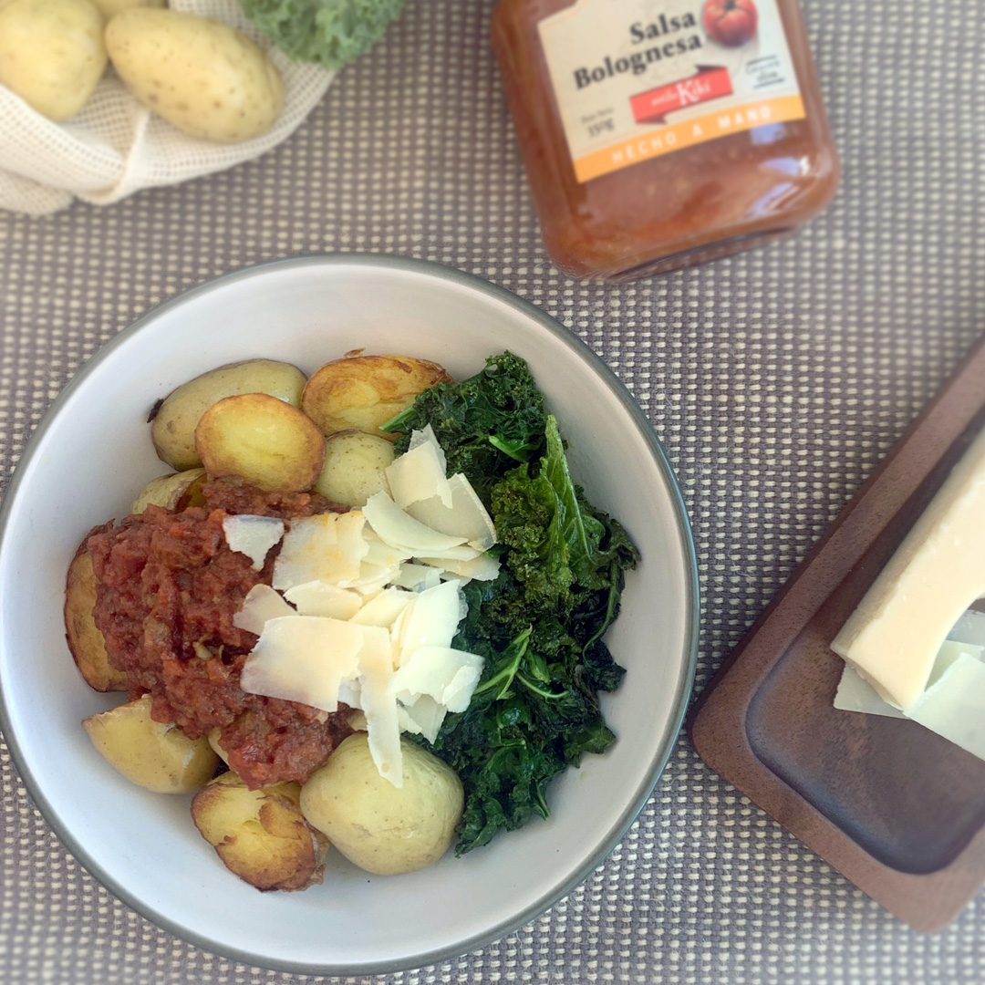 ensalada tibia patatas kale boloñesa kiki