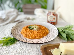 risotto cremoso con tomate