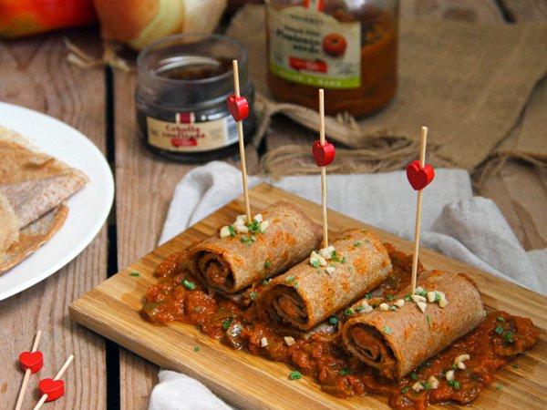crepes salsa pimientos cebolla confitada