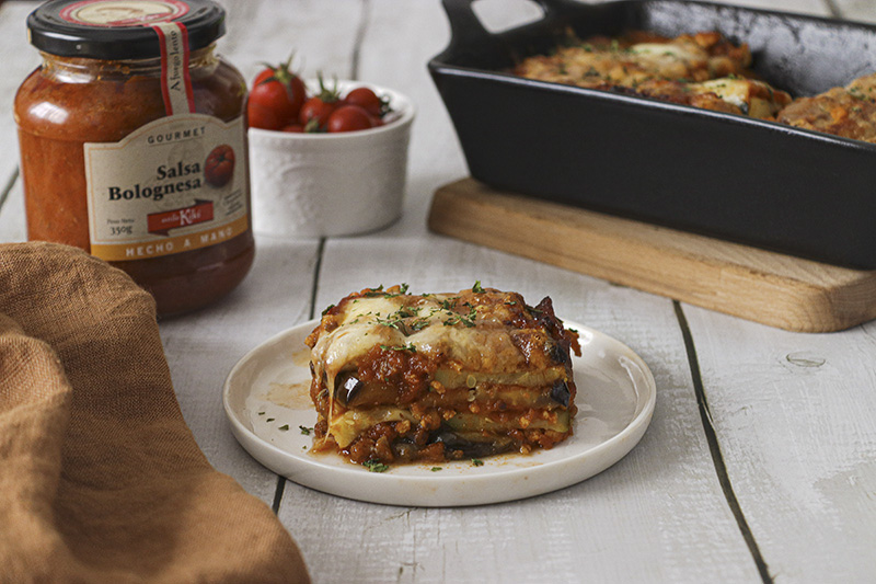 lasana verduras sin pasta salsa bolonesa